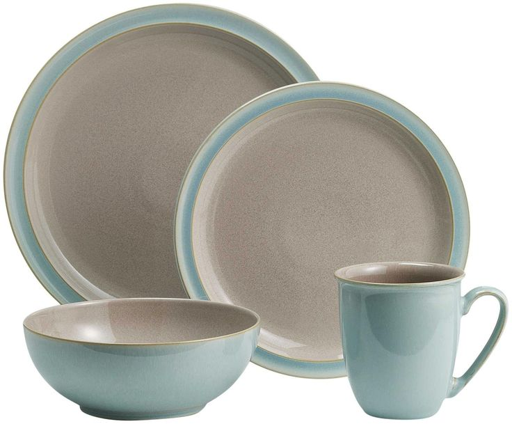 Denby Duets Taupe And Blue Place Setting 4 Piece Dream