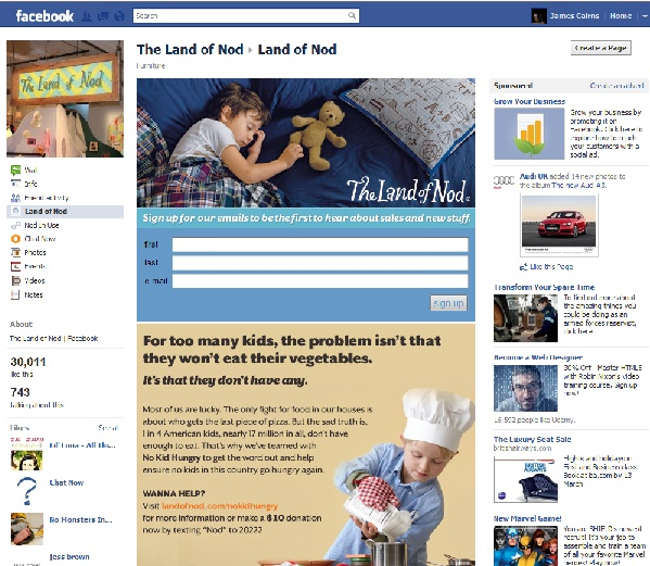 Land of Nod use interactive elements to engage with customers and potential customers within the facebook platform. They also link their other social media channels such as Twitter, meaning that tweets can be seen on the facebook page.