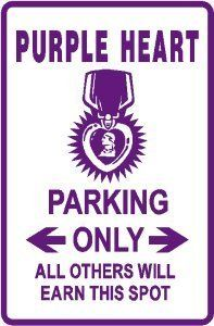 PURPLE HEART PARKING award injury war sign -- Visit the image link more details.