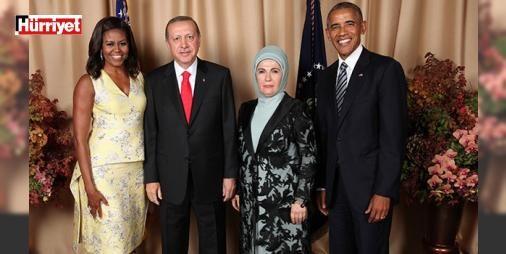 Obama ve Erdoğan çiftinden aile fotoğrafı: Erdoğan Obama'nın BM Genel Kurulu için New York'a gelen heyet başkanlarına verdiği resepsiyona katıldı