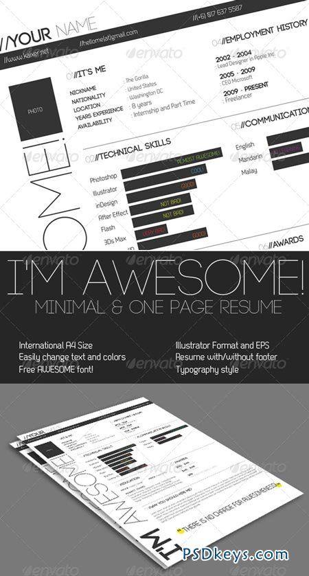 One Page Minimal Resume 195091