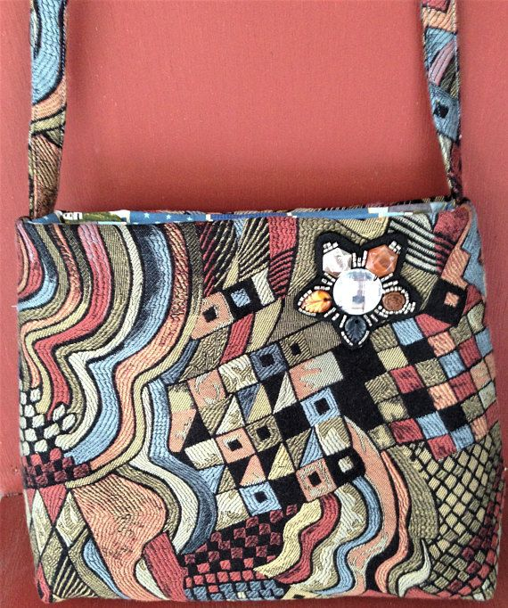 CONTEMPORARY TAPESTRY Print CrossBody Bag with Nautical Cotton