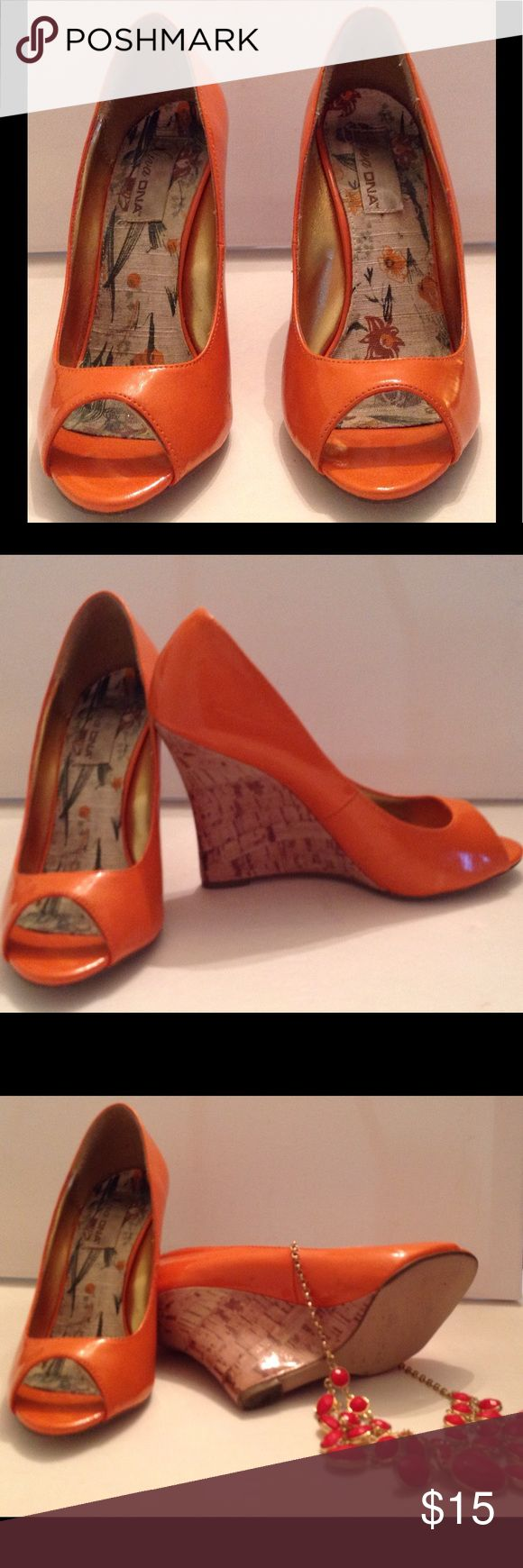 Summer Orange Diva DNA Heels Summer orange wedges with open toe in great condition. Patten leather material on the outside.  Great shoes for any ocassion. Diva DNA Shoes Wedges