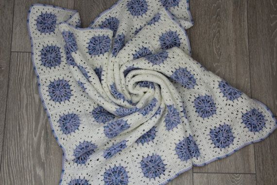 Сrochet baby blanket white and blue / grandma's от TeetherLand