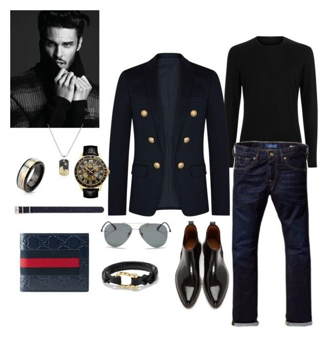 """Untitled #529"" by lianatzelese on Polyvore featuring Balmain, West Coast Jewelry, Gucci, Scotch & Soda, Givenchy, Timex, David Yurman, Croton, Ray-Ban and men's fashion"