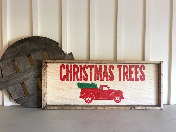 Christmas Tree Red Truck With Tree Wood Sign Holiday