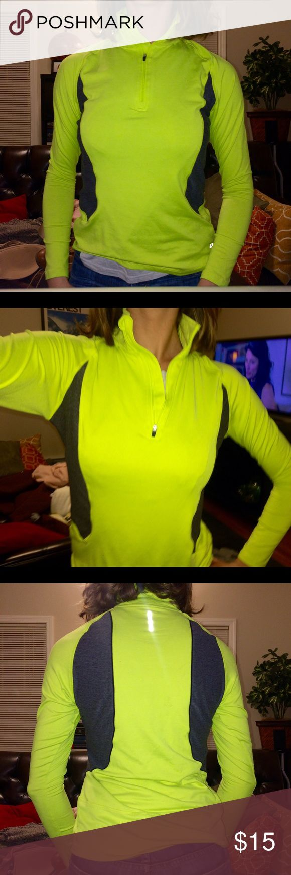 Athletic half zip pullover Great condition. Neon yellow (slightly lighter, not so annoyingly neon) and grey half zip, pullover. Size small Tops
