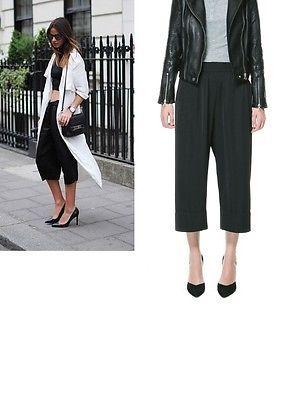 Zara 2013 Black Silky Flowing Crop Pocket Capri Trousers