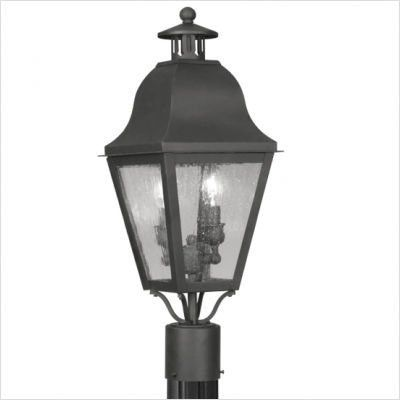 """Bundle-22 Amwell Outdoor Post lantern in Black (Set of 2) Size: 23"""" H x 8.5"""" W x 8.5"""" D by Livex Lighting. $579.80. [***INCLUDED IN THIS SET: (2)Amwell Outdoor Post lantern in Black] Size: 23"""" H x 8.5"""" W x 8.5"""" D Features: -Seeded glass.-Outdoor use.-Post and pier mount are optional.-Pier mounts CANNOT be used with posts. Lantern heads mount to the pier mount..-Pier mounts CANNOT be used with posts. Lantern heads mount to the pier mount.. Color/Finish: -Black finis..."""