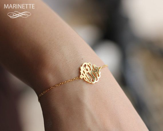 5/8 in monogram side attached on gold plated by MarinetteJewelry, $54.00