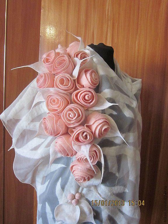 """Купить Палантин-шарф """" Розовые розы"""" - розовый, цветочный, розы, розовые розы, палантин"""