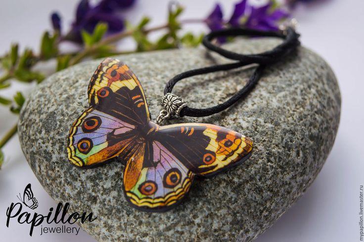 Купить Кулон Бабочка разноцветная - комбинированный, кулон, бабочка, летнее…