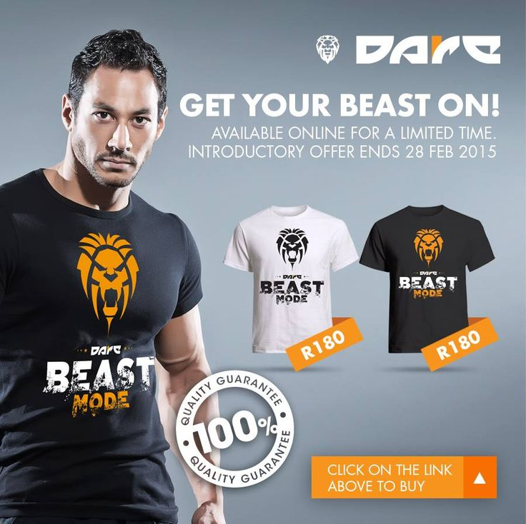 Beast Mode Dare Fitness T-shirts, Vests and Hoodies available from www.daredezigns.com
