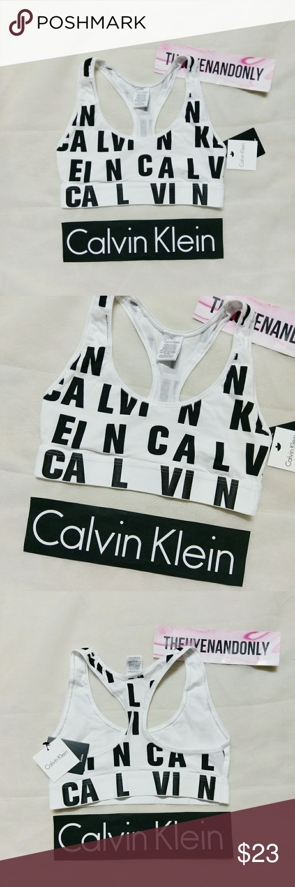 (S) NWT CK Calvin Klein Bralette Black White NEW WITH TAG  NO TRADE  Free Shipping is available. please contact Calvin Klein Tops