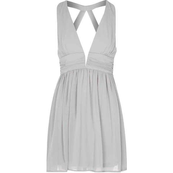 Grey Plunge Cut Out Dress ($46) ❤ liked on Polyvore featuring dresses, short dresses, grey, night out dresses, gray cocktail dress, going out dresses, plunging v neck dress and mini dress