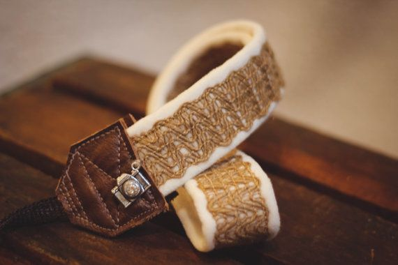 Studio Love Camera Strap: Burlap Lace by BebeKstudio on Etsy brown leather ends professional photography accessory
