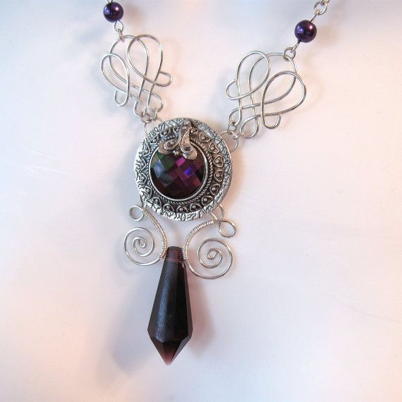 Gothic Wire Work Necklace  Purple Medallion Pendant by TheWireRose, $35.00