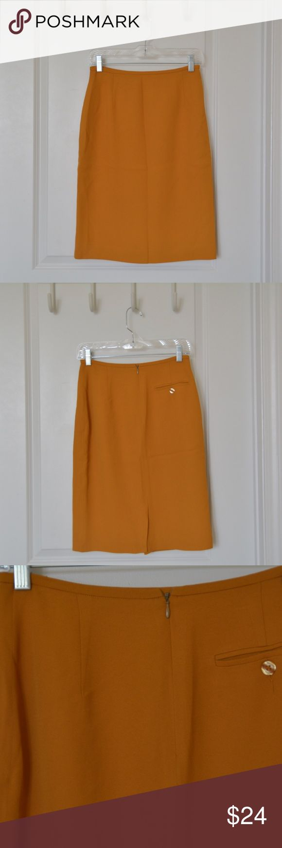 Vintage Jones New York Petite Pencil Skirt Vintage Jones New York Petite pencil skirt in polyester blend material. Golden mustard color. Listed as a size 8, fits like a 2. Even as a vintage item, it is in like new condition. Small welt buttoned pocket in back, see photo. Jones New York Skirts Pencil