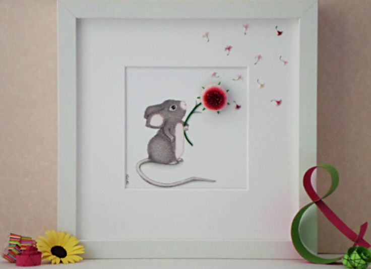 Baby Mouse with Pink Dandelion, Nursery Wall Art, Baby Shower Gift, Children's Playroom Art, 3D Paper Art, Children's Illustration by QuillArtuk on Etsy