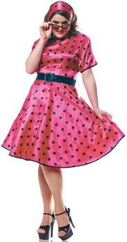 Plus Size Hot 50's Pink/Black Polka Dot Dress - 50's Sock Hop Costumes - Candy Apple Costumes