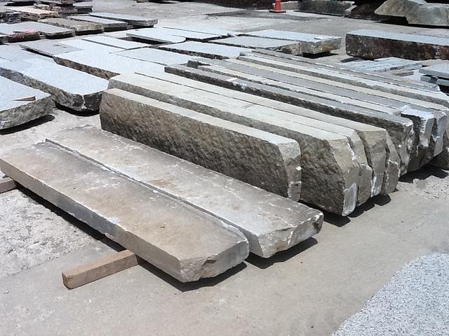Granite Block Curb : Reclaimed granite curbing sawn tread surface or