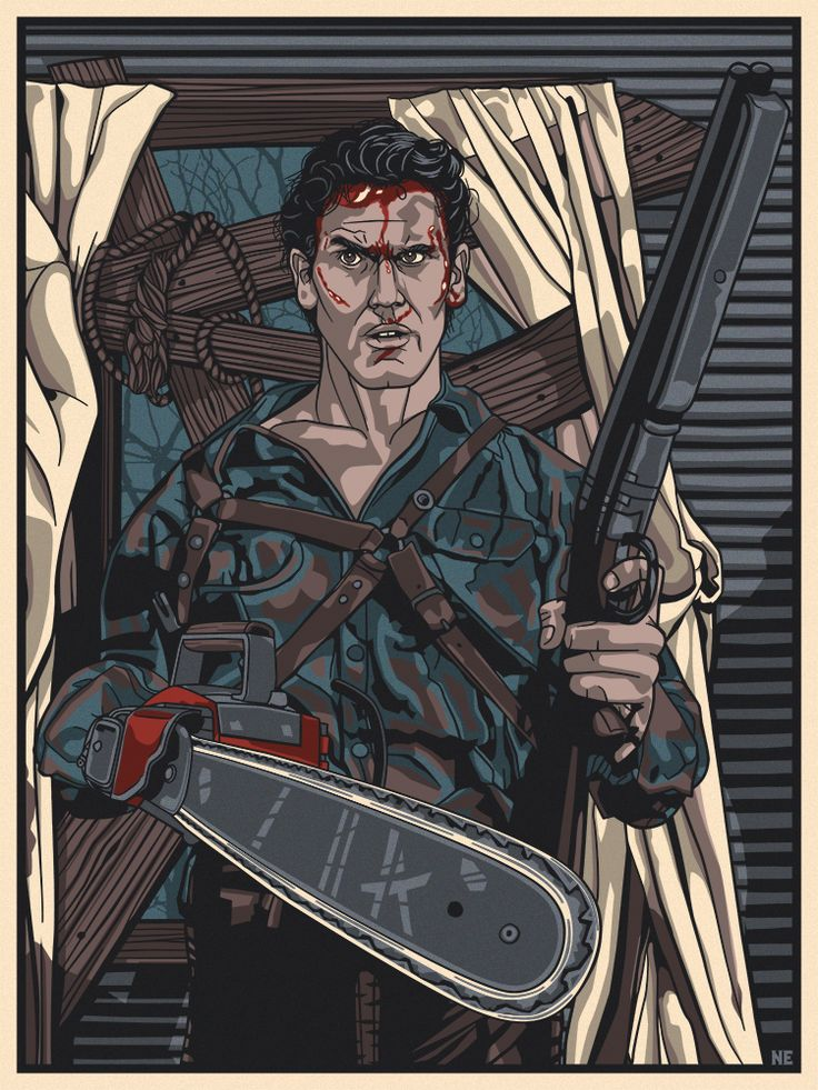 """Dead By Dawn (Inspired by Ash / Evil Dead 2)  Artist: New Flesh  Format: Screen Print - 7 colors (incl. metallic) Dimensions: 12"""" x 16"""" Paper: #100 French Whitewash Markings: Signed & Numbered  Edition Size: 75  Event: Guzu Gallery Presents - Icons of Horror"""