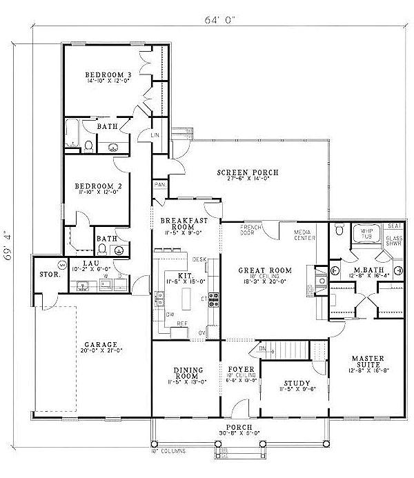 Country Ranch House Plans: Country Ranch House Plan 61097