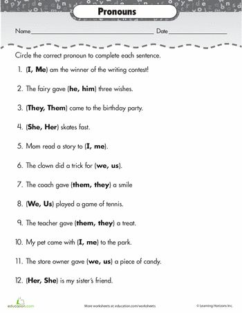 Worksheets: Pronouns: Subject or Object?