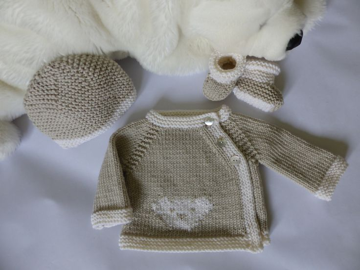 Ensemble naissance mixte fille ou gar on b b pr matur 32 36 semaines tricot en laine - Bebe fille ou garcon ...