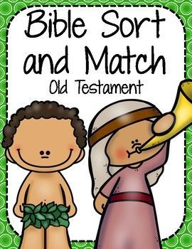 Bible Sort and Match: Old Testament Help your child learn about the Old Testament stories while practicing matching and sorting skills! Bible Sort and Match includes a matching game, a big and little sort, and a puzzle piece game. This sort and match focuses on the days of creation.