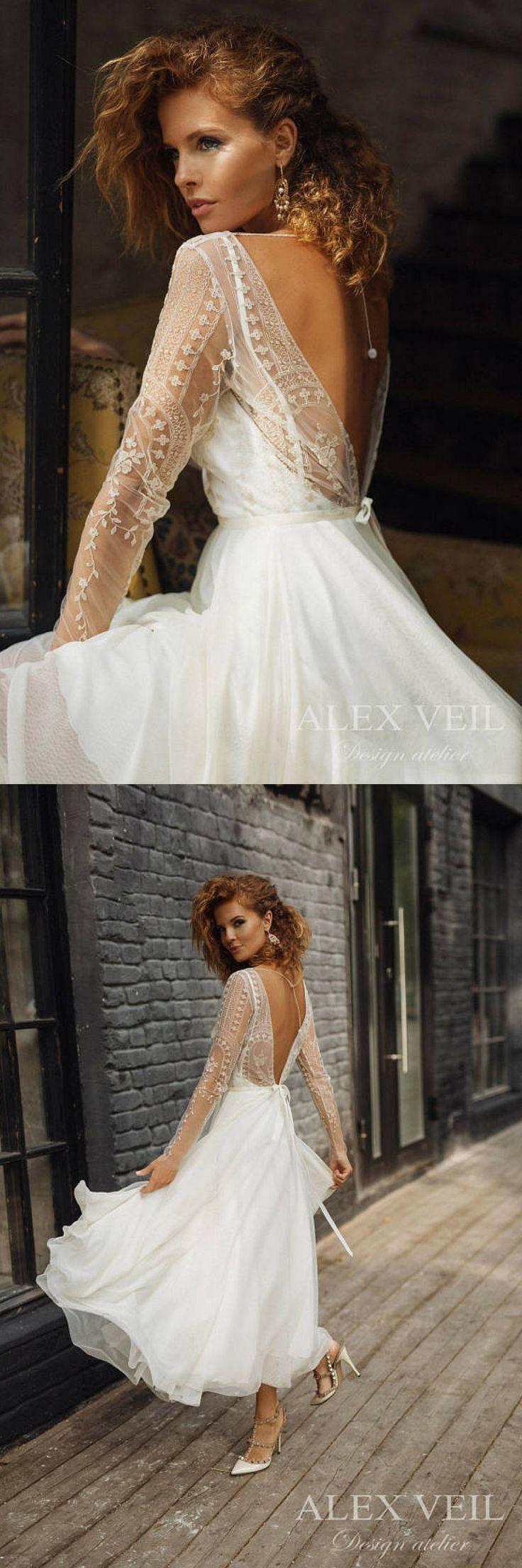 Wedding dress 'ELISE' //  short wedding dress, boneless, tea length wedding dress, lace wedding  dress, long sleeve, boho wedding dress  #weddingideas #ad #weddingdresses #rusticwedding