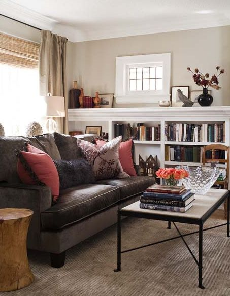 Transitional Living Room Design With Chocolate Brown Velvet Sofa Bamboo Roman Shades Silk Drapes