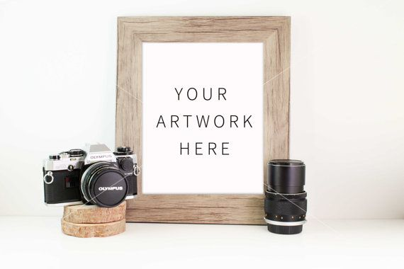 Styled Stock Photography Camera Wooden Frame Mock by confettibears