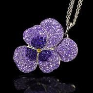 Oliver Pearce Swarovski Crystal Amethyst Large Pansy Pendant Necklace | ACHICA