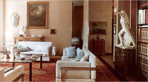 Luigi Caccia Dominioni's 1963 Fasce Cromate sofas in a house in Milan, in the 1960s. #azucena