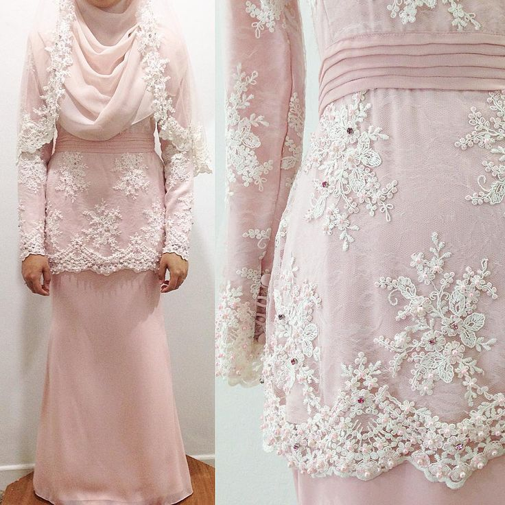 I ❤️ this dress. A lovely modern kurung for solemnization, mixed of white corded lace and soft dusty pink chiffon with pink beads embellishment and matching veil. #weddingmalaysia #unreveurbride