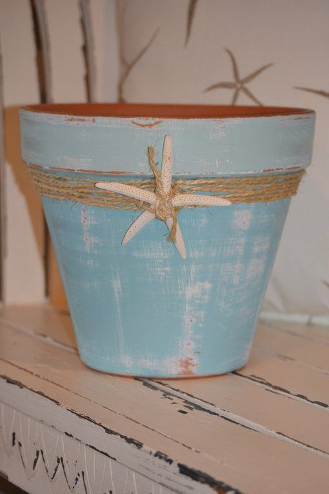 Flower pot via The Painted Cottage at http://www.facebook.com/pages/The-Painted-Cottage/133314466695960
