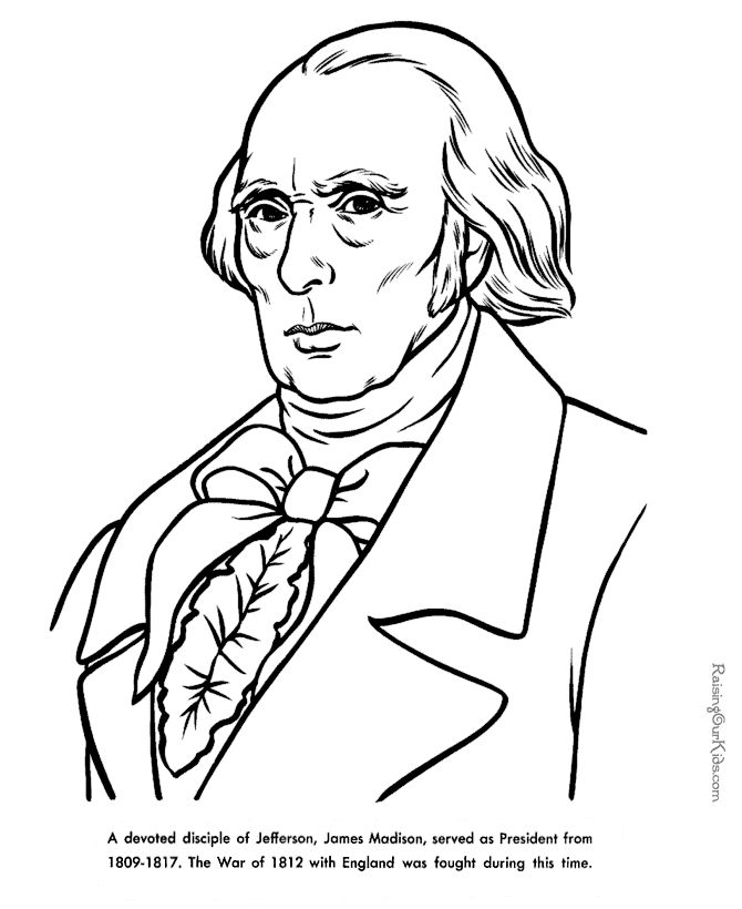 James Madison Facts and coloring pictures