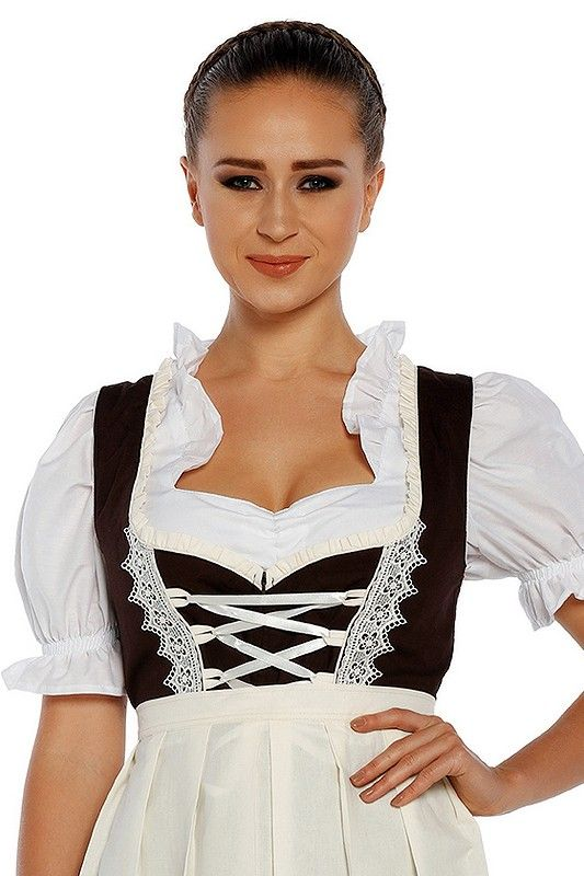 Beiges 3tlg. Dirndl mit Schürze und Bluse 69,90 €  perfekte #Dirndl für #Oktoberfest-Frauen. Jetzt einkaufen zum @Dirndloutlet