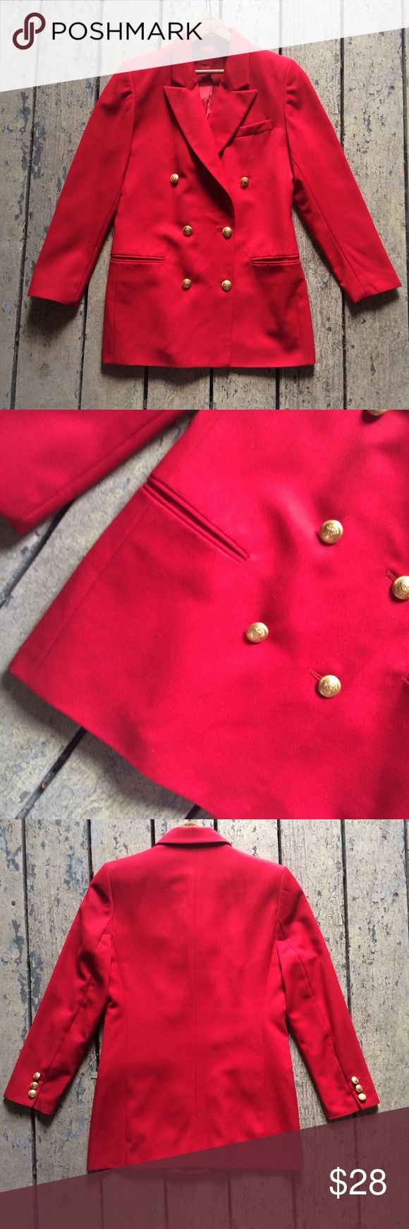 "Vintage Marks & Spencer Red Schoolboy Blazer Vintage 80s red double breasted schoolboy blazer in red with large, decorative gold tone buttons. 2 pockets. Great vintage condition. Bust 38"" Waist 34"" Length 32"". Vintage Jackets & Coats Blazers"
