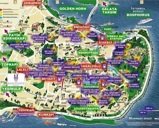 Carte touristique à à Istanbul – Turquie