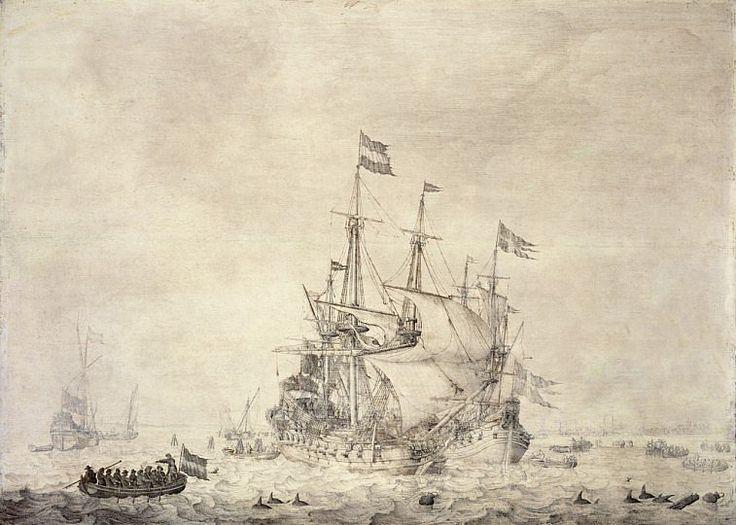 A sea piece with a Dutch merchant ship and a Swedish flute [Willem van de Velde]
