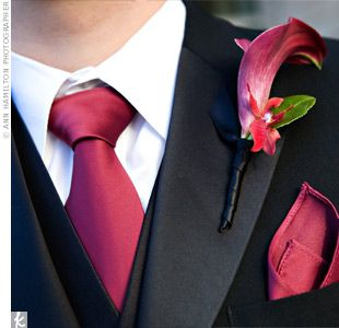 so coordinated - def my type of thing - lapels with mini calla lilies that perfectly coordinated with their ties and pocket squares