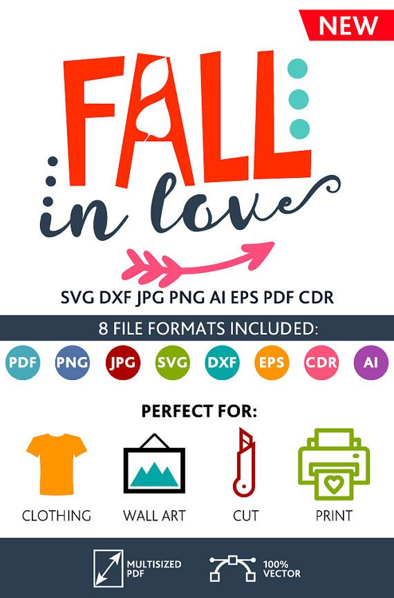 Fall in Love SVG Cut Files Wall Art Quote Printable Art Decor room Art Printable Poster digital (Svg Dxf Cdr Eps Ai Jpg Pdf Png)