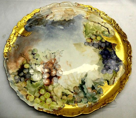 tv limoges grapes | 229: Limoges Hand Painted TV France Charger