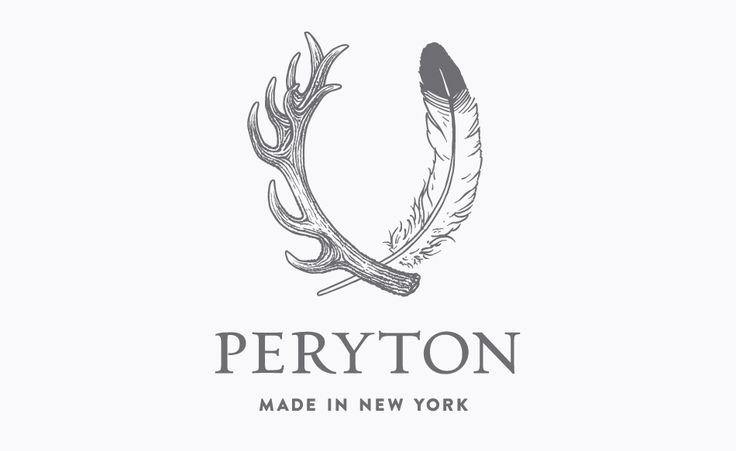 Jeshurun Webb » Peryton #logo, selected as one of How Design's top 10 logos this year with illustrator Brianna Nichols at Korn Design. #borges #feather #antlers
