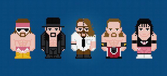 WWE Wrestling Stars - Digital PDF Cross Stitch Pattern    From left to right: Randy Savage, Undertaker, Mankind, Shaun Michaels, Bret Hart.