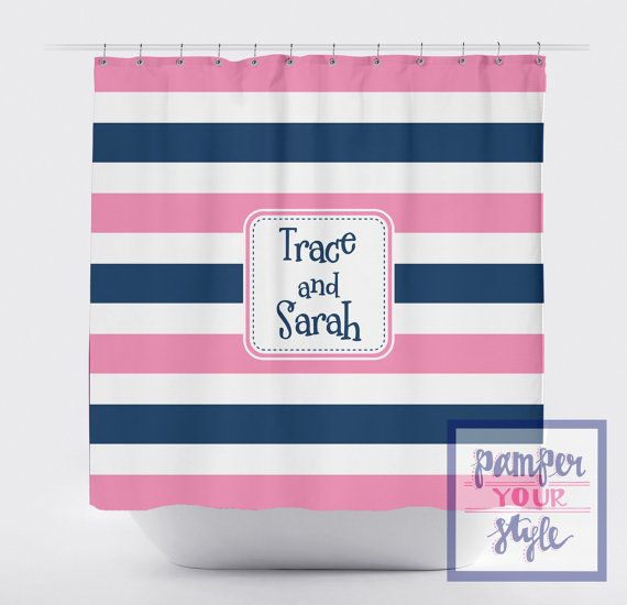 Striped Personalized Shower Curtain Pink and by PAMPERYOURSTYLE