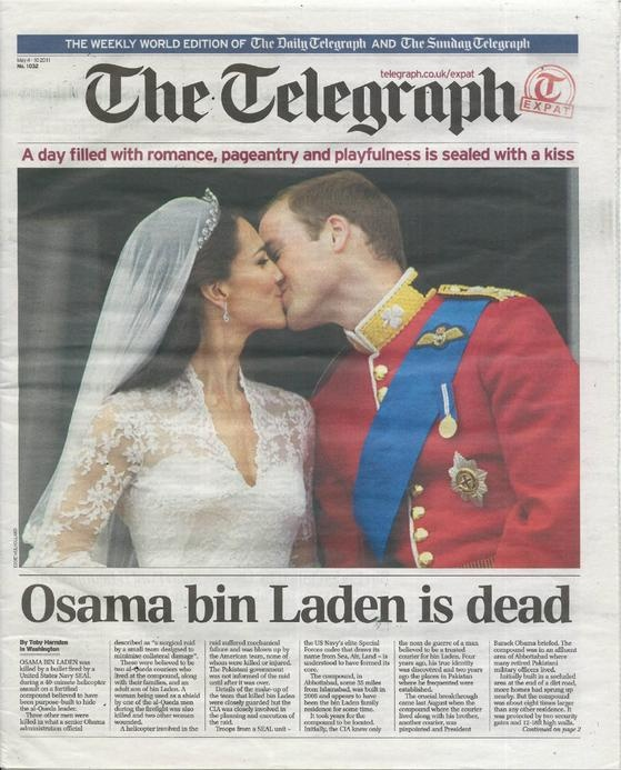 Unless this is fake, ...sincerest congratulations to the unnamed geniuses at the Weekly Telegraph, who figured out this solution to a weekend full of news. /#headline_juxtaposition