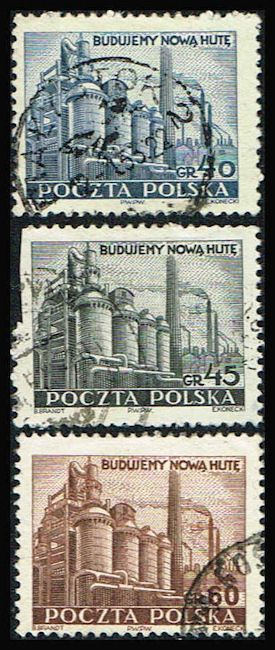 Poland 502-504 Stamps Steel Mill Stamps EU PL 502to504-1, $0.65 at Blue Moon Philatelic Stamp Store (http://www.bmastamps2.com/stamps/europe/poland/poland-502-504-stamp-steel-mill-eu-pl-502to504-1/)